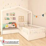 Tempat Tidur Anak Model Sudut Putih