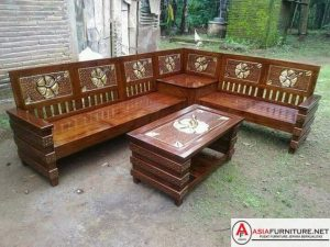 Kursi Sofa Sudut Jati Minimalis